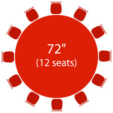 "72"" Round Table - 12 Seats"