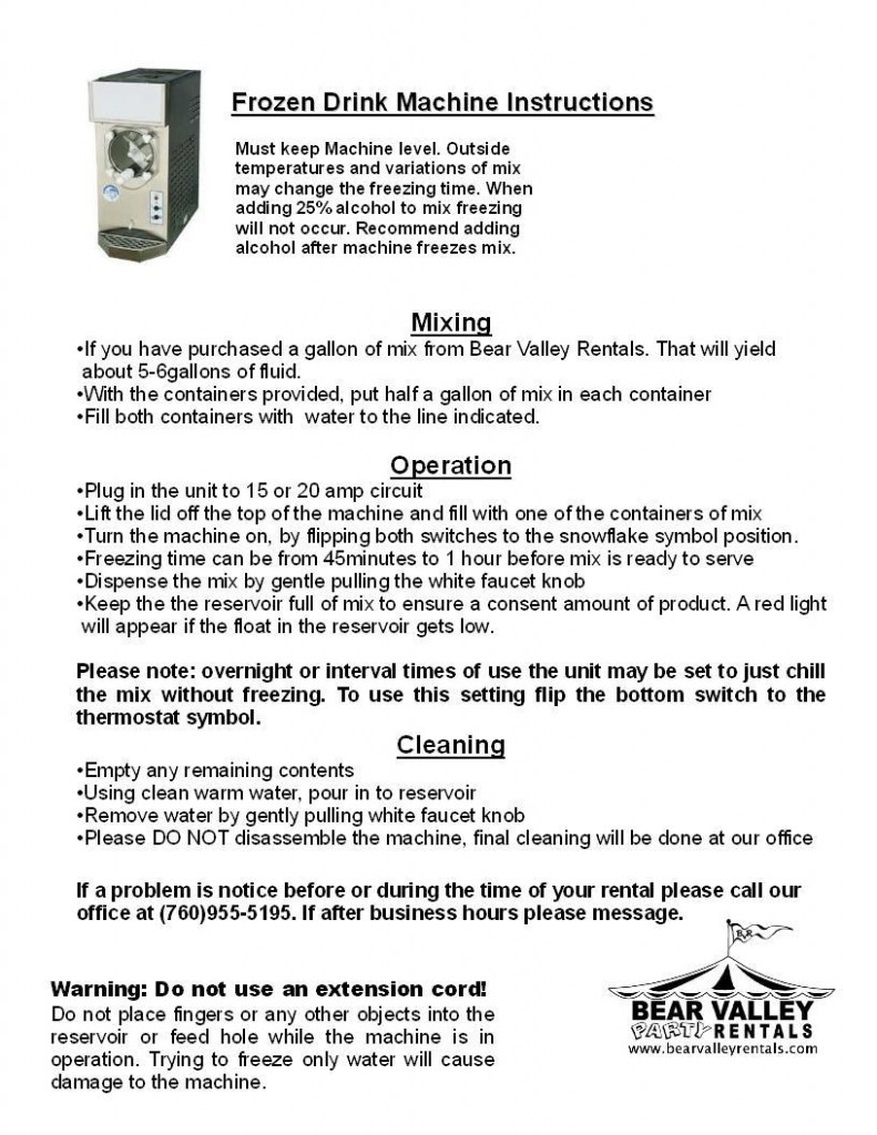 nostalgia slush machine instructions